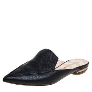 Nicholas Kirkwood Black Leather Beya Pointed Toe Mules Size 39.5