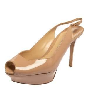 Nicholas Kirkwood Beige Patent Leather Peep Toe Slingback Sandals Size 39