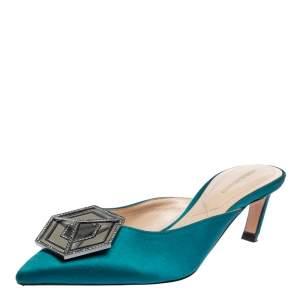 Nicholas Kirkwood Teal Green Satin Eden Crystal Embellished Mules Size 38.5