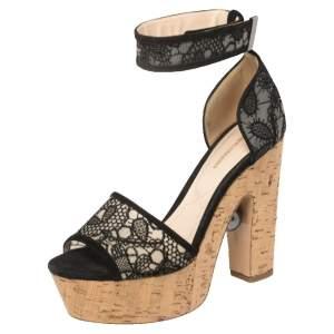 Nicholas Kirkwood Black Lace Maya Pearl Platform Ankle Strap Sandals Size 39.5