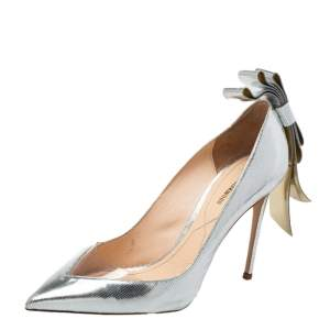 Nicholas Kirkwood Silver Leather And PVC Bow Pumps Size 39