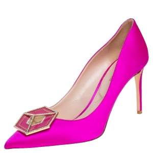 Nicholas Kirkwood Pink Satin Eden Pointed Toe Pumps Size 40.5