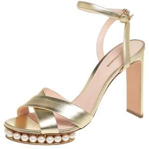 Nicholas Kirkwood Gold Leather Pearl Embellished Platform Ankle Strap Sandals Size 42