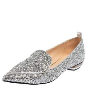 Nicholas Kirkwood Silver Glitter Beya Slip On Loafers Size 37