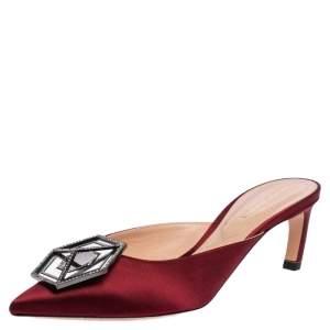 Nicholas Kirkwood Burgundy Satin Eden Crystal Embellished Mules Size 38