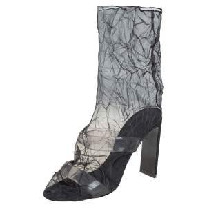 Nicholas Kirkwood Black Mesh And PVC D'Arcy Ankle Boots Size 41
