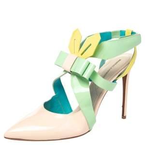 Nicholas Kirkwood Multicolor Patent Leather Slingback Sandals Size 41
