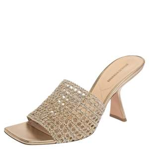 Nicholas Kirkwood Gold/Silver Woven Fabric Alba Mule Sandals Size 41