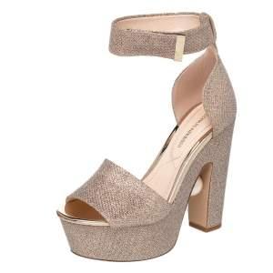 Nicholas Kirkwood Gold Lurex Fabric And Glitter Platform Ankle Strap Sandals Size 36