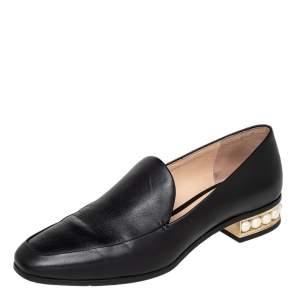 Nicholas Kirkwood Black Leather Casati Pearl Embellished Heel Loafers Size 38
