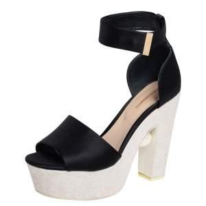 Nicholas Kirkwood Black Satin Maya Pearl Platform Sandals Size 40