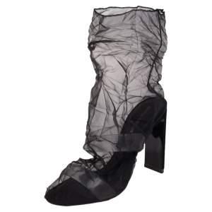 Nicholas Kirkwood Black Mesh D'Arcy Ankle Boots Size 38.5