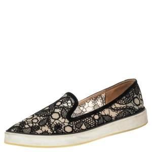 حذاء لوفرز نيكولاس كيركوود الونا دانتيل أسود مقدمة مدببة نعل سميك مقاس 40.5
