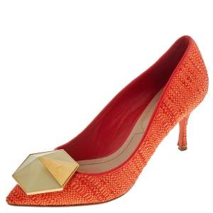 Nicholas Kirkwood Orange Raffia Hexagon Pointed Toe Pumps Size 36