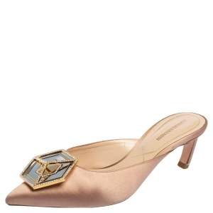 Nicholas Kirkwood Beige Satin Eden Mule Sandals Size 38