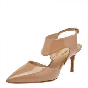 Nicholas Kirkwood Beige Patent Leather Pointed Toe Pumps Size 35