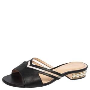 Nicholas Kirkwood Black Mesh and Leather Pearl Embellished Flat Slides Size 37