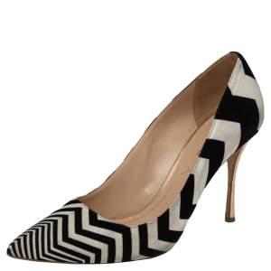 Nicholas Kirkwood Black/White Zigzag Print Suede Pointed Toe Pumps Size 39