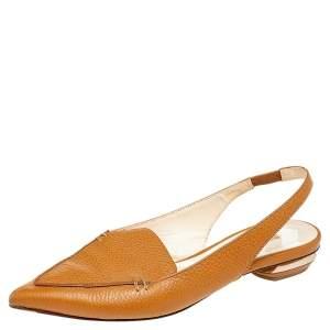 Nicholas Kirkwood Brown Leather Beya Slingback Flats Size 36.5