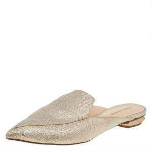 Nicholas Kirkwood Gold Glitter Beya Pointed Toe Flats Size 38