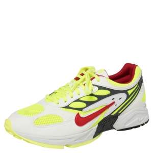 Nike Air White/Neon Green Leather And Mesh Ghost Racer Sneakers Size 46