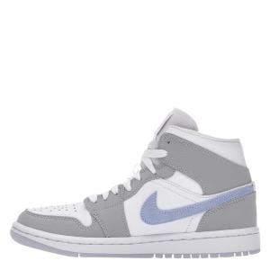 Nike WMNS Jordan 1 Mid Wolf Grey Aluminum Sneakers Size US 7.5W (EU 38.5)
