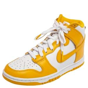 Nike Dark Sulfur/White Leather Dunk High Top Sneakers Size 36.5