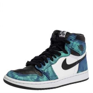 Nike Jordan Multicolor Leather Air Jordan 1 Retro Tie-Dye High Top Sneakers Size 38.5