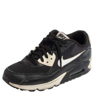 Nike Black Leather and Mesh Air Max 90 Sneakers Size 37.5