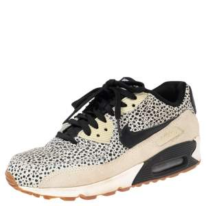 Nike Black/White Leather and Suede Air Max 90 Safari Sneakers Size 38