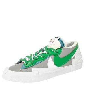 Nike X - Sacai - Blazer Grey/Green Leather Low Top Sneakers Size 38.5