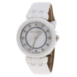 Nina Ricci White Mother of Pearl and Diamonds Ceramic N054004SM Women's Wristwatch 38 mm