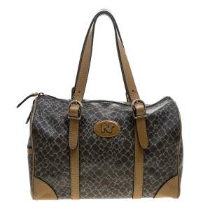 Nina Ricci Brown Coated Canvas Boston Bag