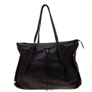 Nina Ricci Metallic Black Leather Ondine Zip Tote