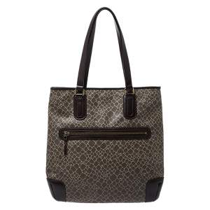 Nina Ricci Dark Beige/Brown Vintage Coated Canvas and Leather Tote