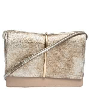 Nina Ricci Metallic Gold/Beige Leather and Suede Arc Shoulder Bag