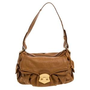 Nina Ricci Brown Leather Front Pocket Flap Shoulder Bag