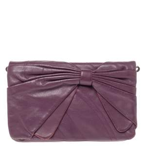 Nina Ricci Purple Leather Pleated Bow Flap Shoulder Bag