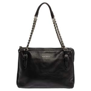 Nina Ricci Black Leather Chain Tote
