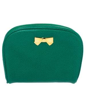 Nina Ricci Green Leather Bow Zip Around Pouch