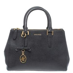 Nina Ricci Black Leather Double Zip Tote