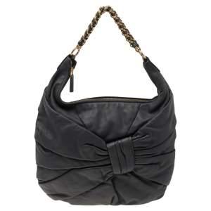 Nina Ricci Dark Grey Pleated Leather Chain Hobo