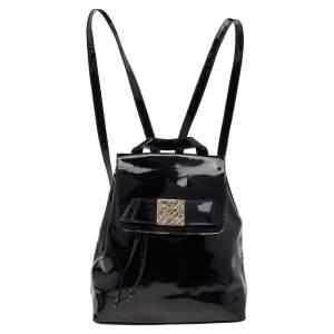 Nina Ricci Black Patent Leather Backpack