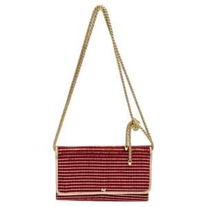 Nina Ricci Red/Metallic Gold Fabric Flap Bag