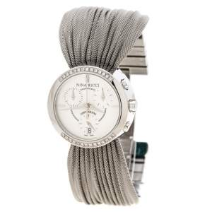 Nina Ricci Silver White Stainless Steel Diamonds N021.15 Chronograph Women's Wristwatch 32 mm