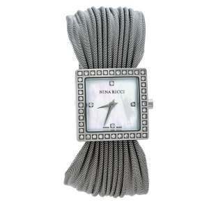Nina Ricci White Mother of Pearl Stainless Steel Diamonds N019.12 Women's Wristwatch 24 mm