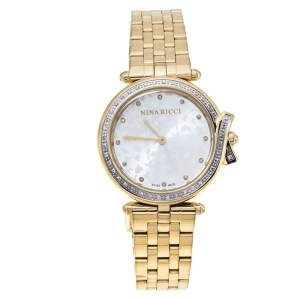NIna Ricci Silver Yellow Gold Plated Stainless Steel Diamond Classic N067013SM Women's Wristwatch 33 mm