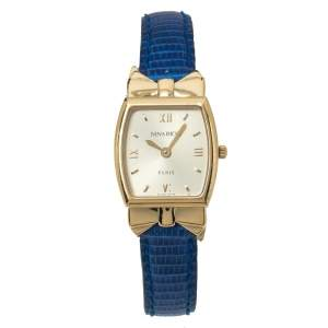 Nina Ricci Royal Blue Leather Gold Plated Women's Wristwatch 19mm