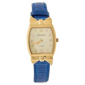 Nina Ricci Royal Blue Leather Gold Plated S971 Women's Wristwatch 20 mm