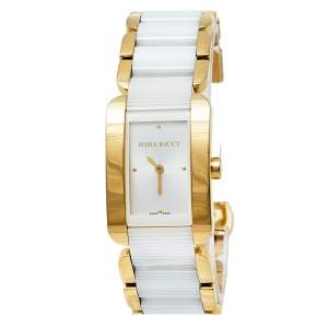 Nina Ricci Silver Gold Plated Stainless Steel Ceramic NO62003SM Women's Wristwatch 24 mm